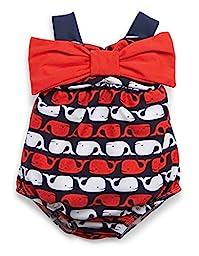 Mud Pie Baby-Girls Newborn Whale Bow Bubble Swimsuit, Blue, 0-6 Months