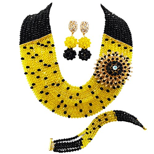 aczuv 10 Layers Multi Strands Statement Necklace Nigerian Wedding African Beads Jewelry Set Crystal Beaded Bridal Party Jewelry Sets for Women Girls (Black Yellow)