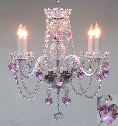 Swarovski Crystal Trimmed Chandelier! Crystal Chandelier Lighting With Pink Crystal Hearts! H17″ X W17″