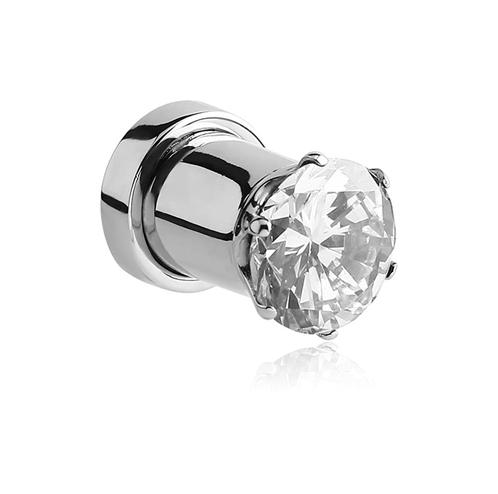 Holy Plug Body Piercing Jewelry Single Surgical Steel Prong Set Jeweled Threaded Tunnel 000g 0000g 9//16 5//8 11//16 13//16 11g 6g 4g 2g 0g