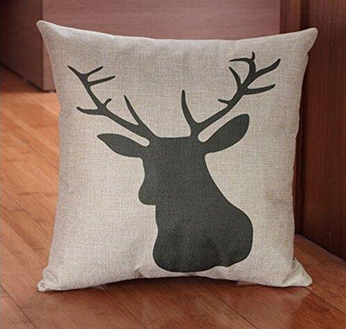 Lyn® Cotton Linen Square Throw Pillow Case Decorative Cushion Cover Pillowcase for Sofa Deer Head 18