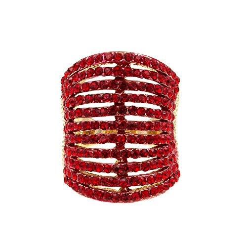 حلقه های کوکتل کریستالی مد Lavencious 11 ردیف زنان اندازه 5 تا 12