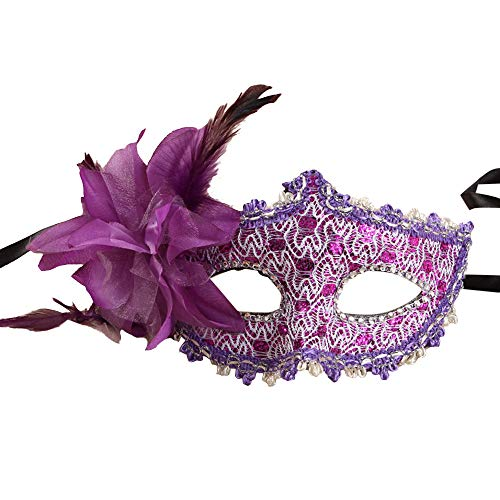 Kariwell Sexy Women Black Lace Eye Face Mask Rhinestone Sequins Masquerade Party Ball Prom Costume Charms Mask (Purple) ()