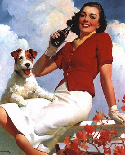 EuroGraphics Coca-Cola. Lady and Her Dog. Vintage Advertising Reproduction Poster (16 x 20)