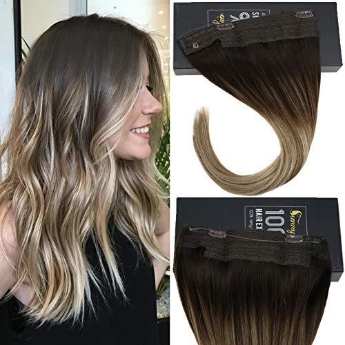 Sunny 18inch One Piece Bayalage Halo Human Hair Extensions 80g Brown to Ash Blonde Highlights Invisible Wire Hair Extension Remy Hair (Extension Shipping Piece Hair One)