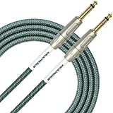 KIRLIN Cable IWB-201PFG-20/OL 20-Feet 1/4-Inch Straight Premium Plus Instrument Cable, Olive Green Tweed Woven Jacket
