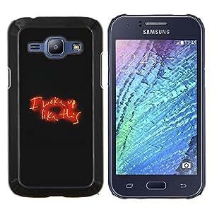 EJOOY---Cubierta de la caja de protección para la piel dura ** Samsung Galaxy J1 J100 ** --Amor de neón signo texto negro noche roja