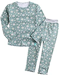 08a173c63e 12M-7T Kids Girls 100% Cotton Flower Pattern Sleepwear Pajama Pjs Set