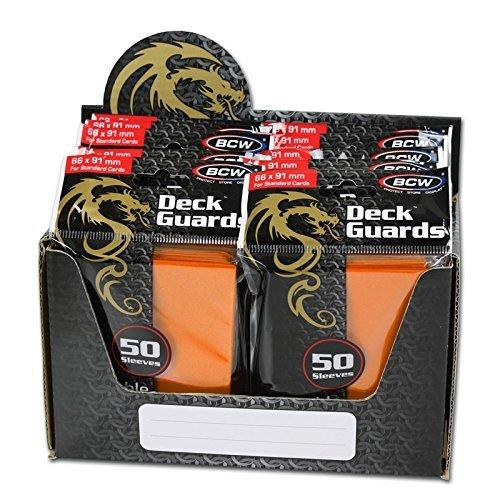 BCW 500 Premium Orange Double Matte Deck Guard Sleeves Display Bundle - 10 Packs of 50 Sleeves