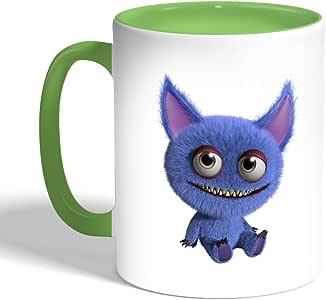 Printed Coffee Mug, Green Color, Colorful Monster