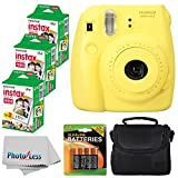 Fujifilm Instax Mini 8 Instant Film Camera (Yellow) With Fujifilm Instax Mini 6 Pack Instant Film (60 Shots) + Compact Bag Case + Batteries Top Kit - International Version (No Warranty)
