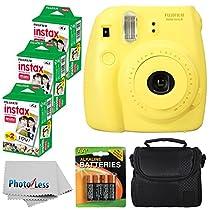 Fujifilm Instax Mini 8 Instant Film Camera (Yellow) With Fujifilm Instax Mini 6 Pack Instant Film (60 Shots) + Compact Bag Case + Batteries Top Kit - International Version (No Warranty)