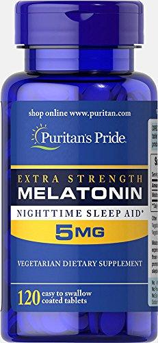 Puritan's Pride Extra Strength Melatonin 5 mg-120 Tablets (5mg 120 Tablets Melatonin)
