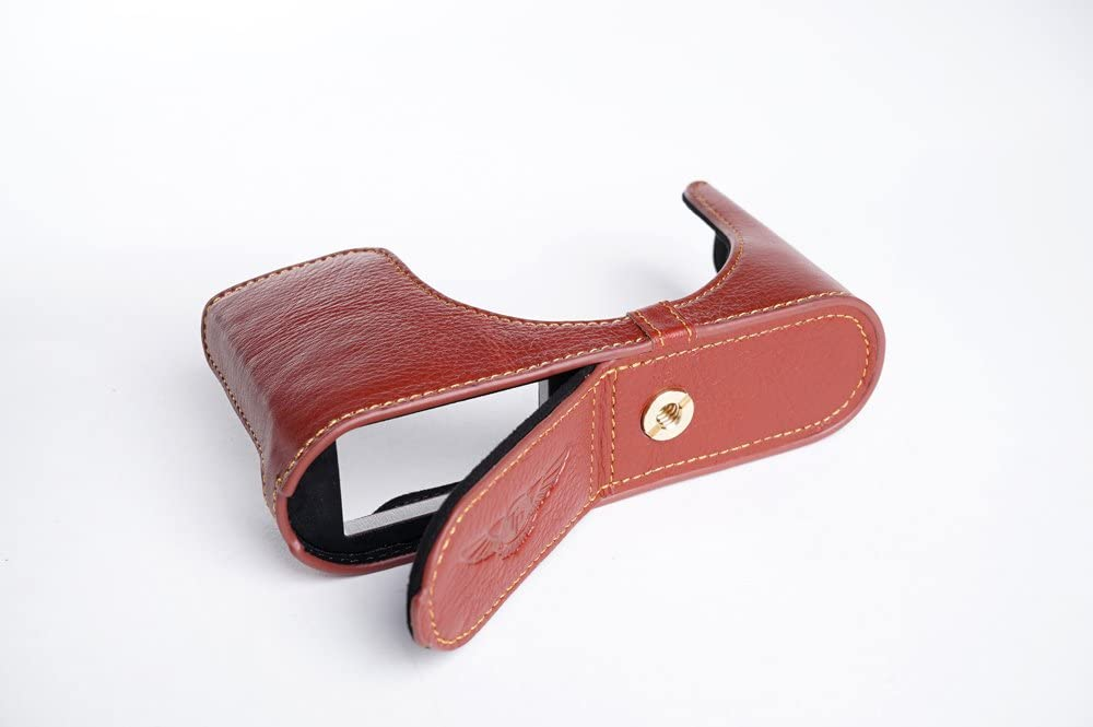 Handmade Genuine Real Leather Half Camera Case Bag Cover for Leica Q Typ116 Brown Bottom Opening Version