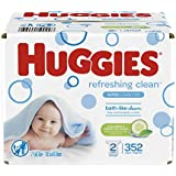 HUGGIES Refreshing Clean Scented Baby Wipes, Hypoallergenic, 2 Refill Packs, 352 Count Total