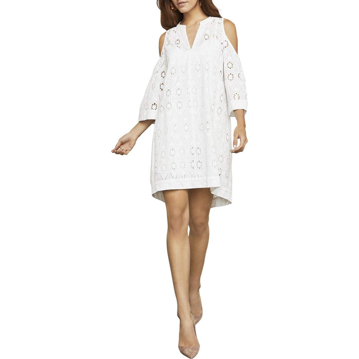 White BCBG Max Azria Womens Regan Cold Shoulder Floral Mini Dress