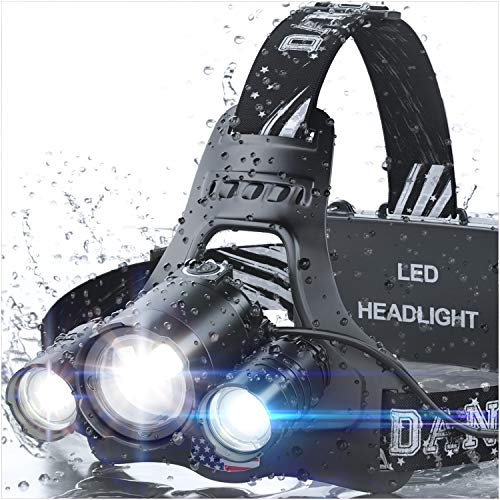 DanForce Headlamp, Red LED Headlamp, Rechargeable Headlamp - CREE 1080 Lumens Brightest Zoomable Head Lamp Flashlight. Headlight USB Rechargeable, IPX45 HeadLamps. Best for Camping, Outdoors, Adults.