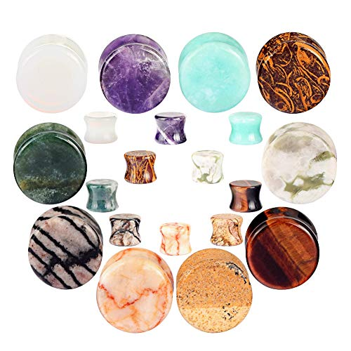 20pcs Stone Ear Gauges Flesh Tunnels Plugs Stretchers Expander 2g(6mm)