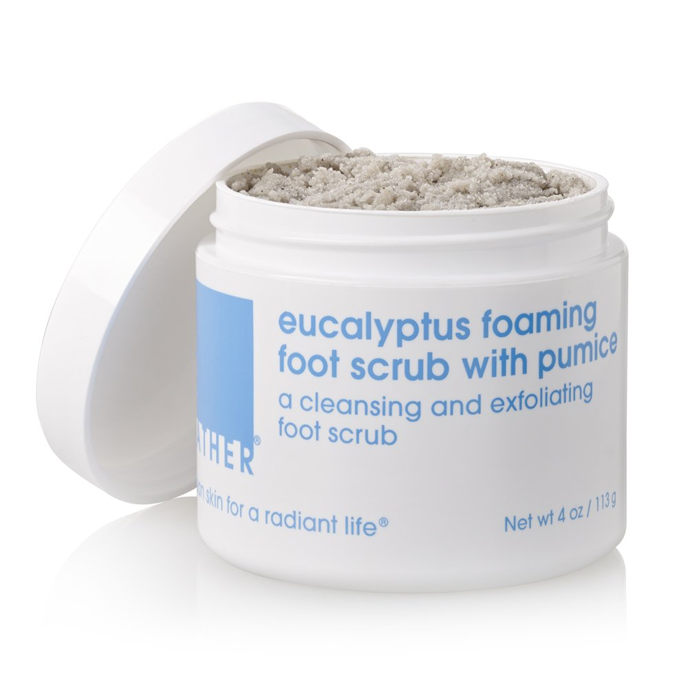 LATHER Eucalyptus Foaming Foot Scrub with Pumice 4 oz - a clean rinsing, foaming foot scrub developed specially for the feet 2080