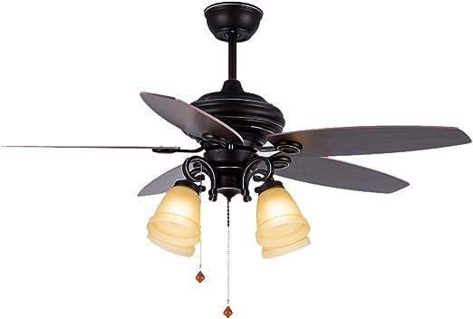 Ventiladores de Techo con lámpara Ventilador de Techo con luz, Dormitorio iluminación Ventilador Retro de Madera Hoja Ventilador de Techo Estudio de luz Ventilador de Techo niños Mute con Ventilador: Amazon.es: Hogar