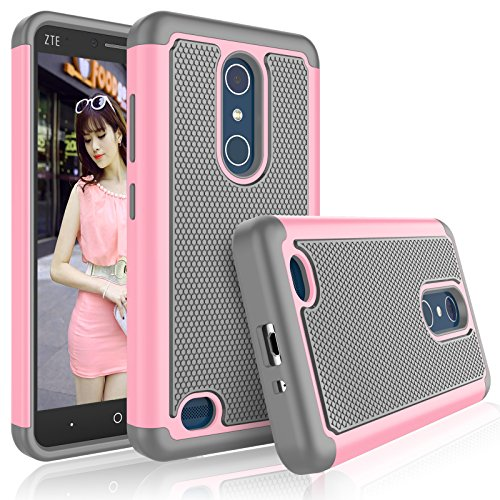 Tekcoo ZTE Zmax Pro Case, Tekcoo ZTE Blade X Max Case for Girls, [Tmajor] Shock Absorbing [Baby Pink] Adorable Rubber Silicone Plastic Scratch Resistant Defender Hard Cases Cover for ZTE Z983 Z981