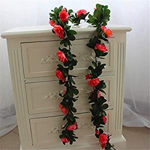 ZJJZH Artificial Decorative Flowers Simulation Rhododendron Green Leaf Flower Vine Artificial Flower Rose Rattan Vine Leaf Vine Fake Flower Decoration Wall Hanging Flower 165cm Artificial Flowers. 24