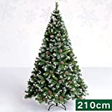 XF Christmas Tree-Artificial Christmas Tree 4 ft-7 ft Size Choice Quality Plastic Tree with Tree Stand Xmas Premium Pine Christmas Tree Green // (Size : 210cm)