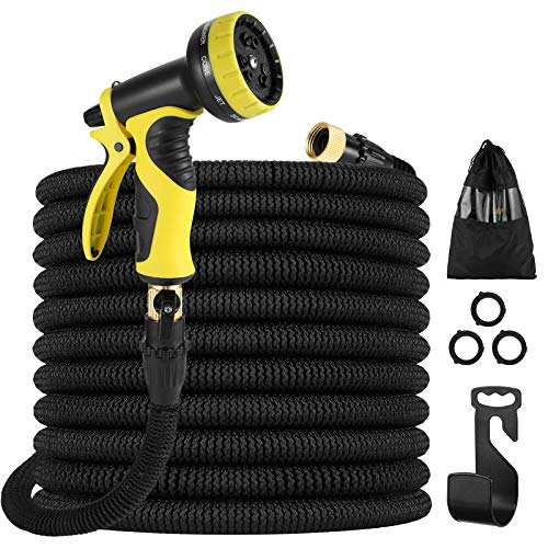 Akarden Expandable Garden Hose Leakproof Lightweight Retractable Water Hose with 9 Function Nozzle 3750D Expanding Garden Hoses Durable Outdoor Gardening Flexible Hose for Watering