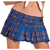Schoolgirl Pleated Plaid Mini Skirt Blue/Red S/M