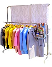 Hershii Rolling Clothes Drying Rack Expandable Metal Double Rail Heavy Duty Laundry Garment Hanger Stand Adjustable for Indoor Outdoor Use