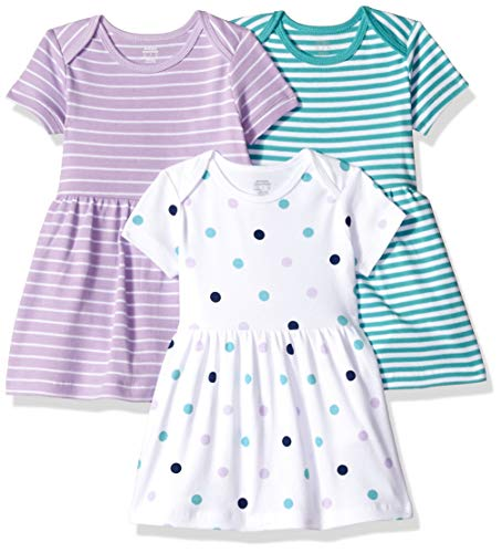 Amazon Essentials Girls' Baby 3-Pack Dress, Dots, 6-9 Months