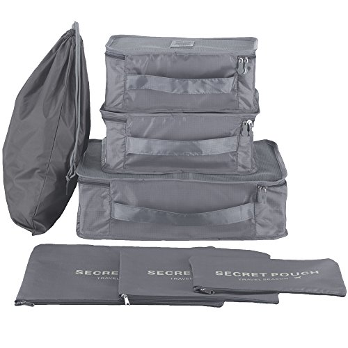 Hopsooken Travel Organizer Luggage Compression Pouches, Gray (7-Piece Set)