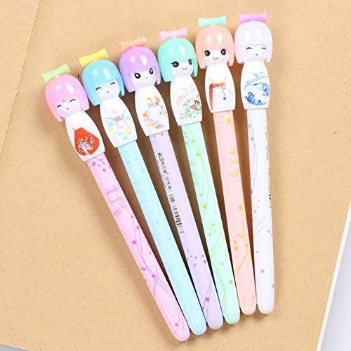 VANVENE 12pcs/lot Small Fresh Japanese Doll colored gel pens for writing cartoon 0.38mm black ink roll pen office school supplies (Best Colored Gel Pens For Writing)
