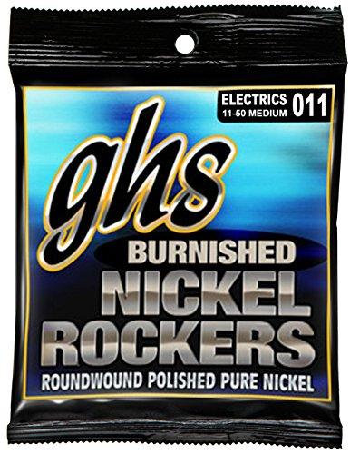 - GHS Strings BNR-M Burnished Nickel Rockers, Polished Pure Nickel Electric Guitar Strings, Medium (.011-.050)
