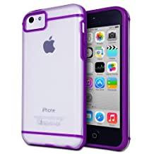 GreatShield Radiant Series Slim Fit Smooth [Bumper Grip] Skin Protective Transparent Case Cover for Apple iPhone 5C (Purple)