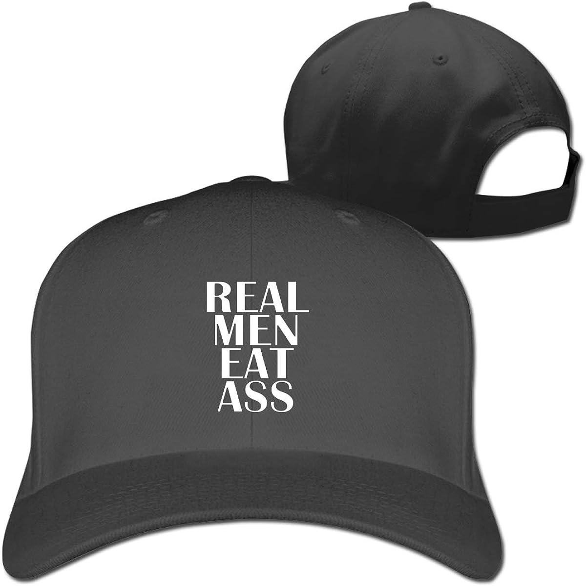 Real Men Eat Ass Fashion Adjustable Cotton Baseball Caps Trucker Driver Hat Outdoor Cap Black