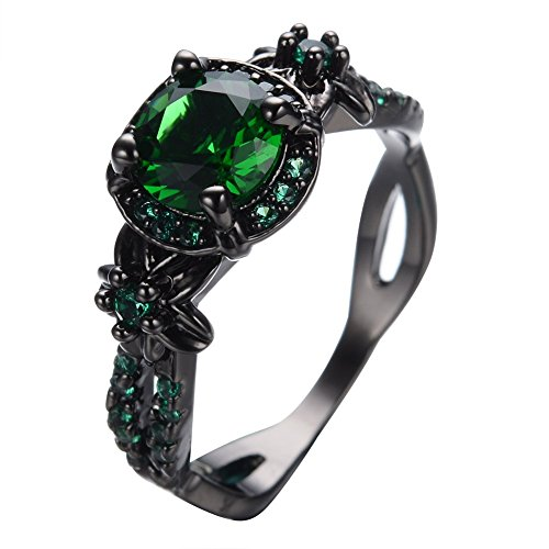 Womens Green Stone Round Lab Stone Engagement Wedding Best Friend Christmas Black Gold Plated Wedding Rings for Her - Bamos Jewelry Size 6-10