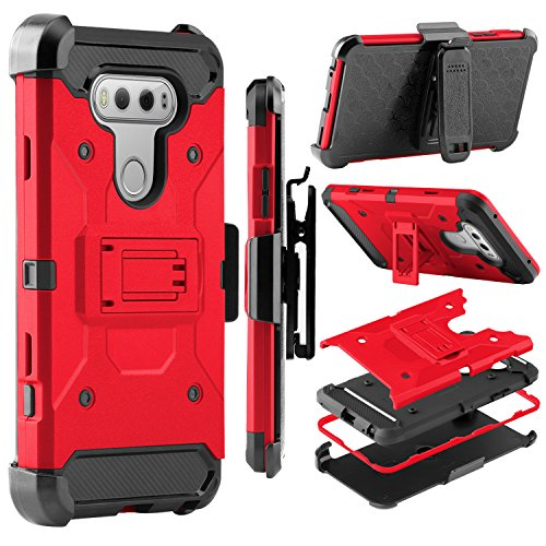 LG V20 Case, Zenic Shock Resistant Hybrid Tri-Layer Armor Defender Protector Case Cover with Belt Swivel Clip and Kickstand for LG V20 All Carriers (Red)