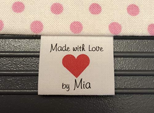 40 custom Precut NO FRAY Cotton Loop Fold Sewing Label/tags with heart Graphic IN COLOR INKmade in USA