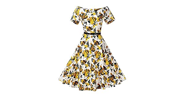 Amazon.com: Womens Floral Print Belted Vintage Dress Short Sleeves Elegant 60s Summer Retro Dress For Party Office Casual Dress Vestidos,TQ00038,XL: ...