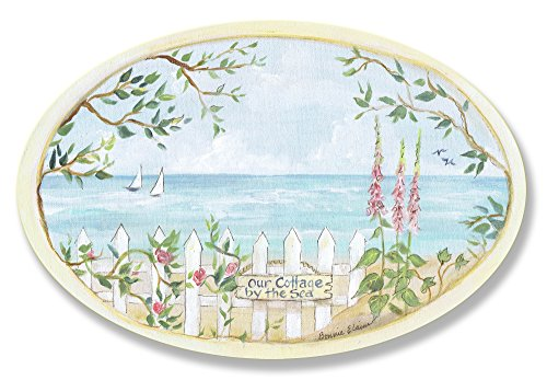 Cottage Sea (Stupell Home Décor Cottage By The Sea Oval Wall Plaque, 10 x 0.5 x 15, Proudly Made in USA)
