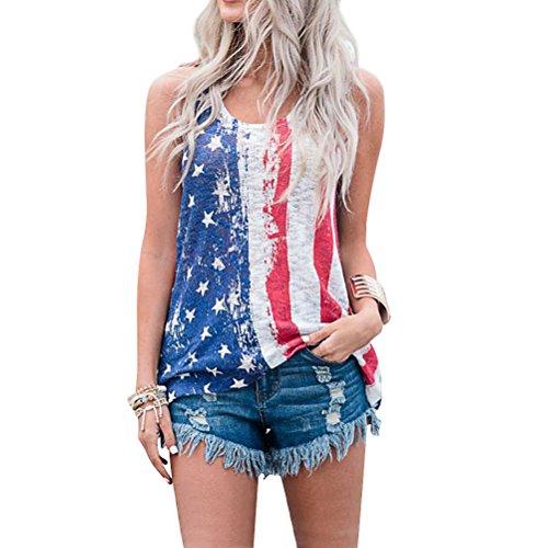 ZJP Women Casual Round Neck Striped Shirt American Flag Print Tank Top Camis - Print Flag Shirt
