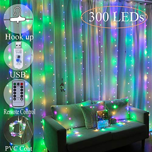 Window Curtain String Light, 300 LED Warm White Window Fairy String Lights with 8 Modes USB Powered, LED Curtain Lights for Christmas, Party, Wedding, Bedroom Decoration (Colorful)