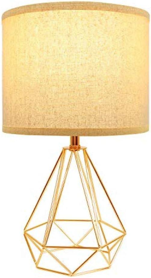 Lámpara de mesa dorada de estilo moderno con base hueca geométrica ...