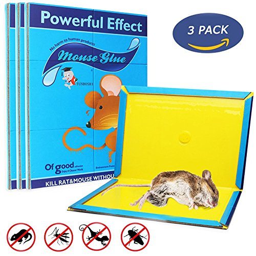 Best Mouse Bait - Mouse Glue Trap, Rat Glue Traps, Strongly Adhesive & Extra Large, Best Peanut Butter Scented Mouse Traps Glue Board for Mice & Rodent &Pests & Bug & Ant & Spider - 3 Pack