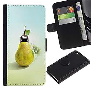 Ihec-Tech / Flip PU Cuero Cover Case para Apple Iphone 5 / 5S - Design Pear Bulb