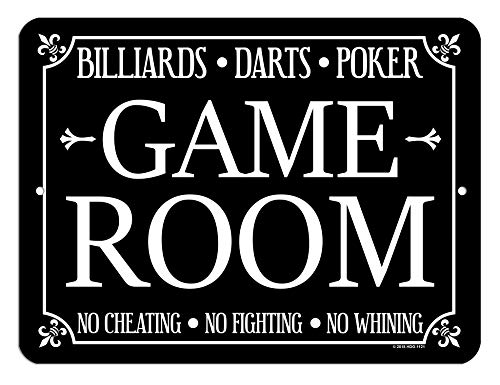 Honey Dew Gifts Game Room Decor, Billiards, Darts, Poker 9 x 12 inch Metal Aluminum Novelty Tin Sign Decor (Decor Room Billiards)