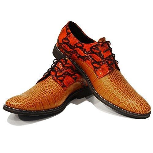 PeppeShoes Modello Piquetto - Handmade Italiennes Cuir Pour des Hommes Rouge Chaussures Oxfords - Cuir de Vachette Cuir Gaufré - Lacer