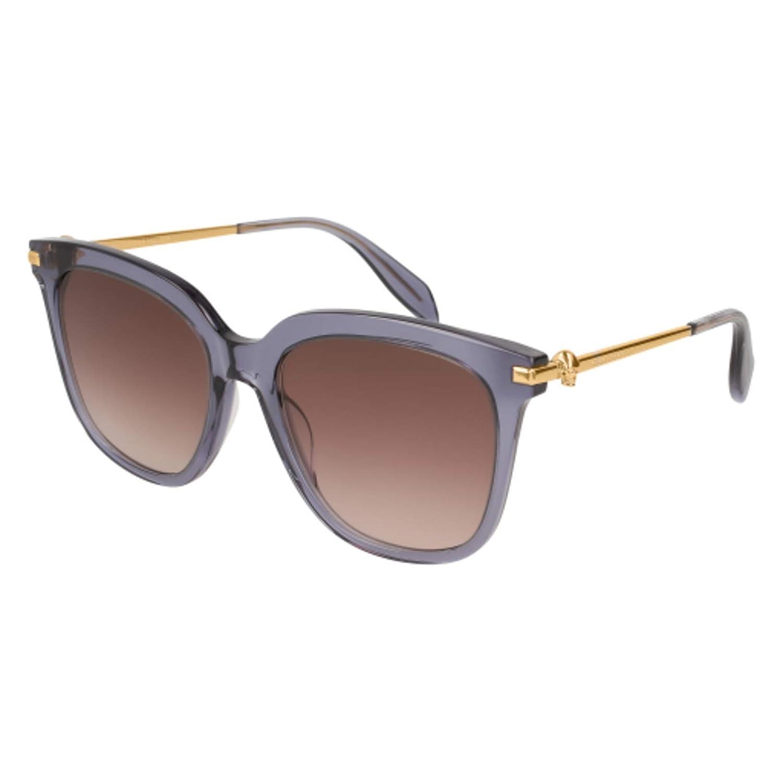 c37a04c42f Amazon.com  Sunglasses Alexander McQueen AM 0107 S- 005 BLUE   BROWN GOLD   Clothing