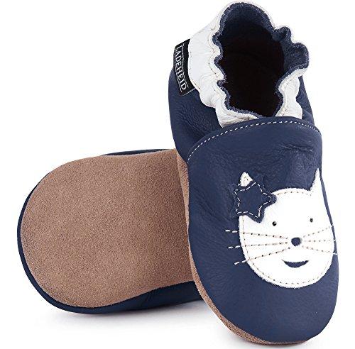 Ladeheid Weiche Leder Babyschuhe mit Rutschfesten Wildledersohlen LAFIO101 Dunkelblau/Katze
